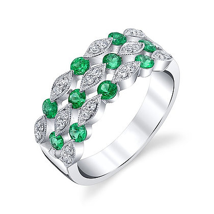 Emerald & Diamond 3-Row Band