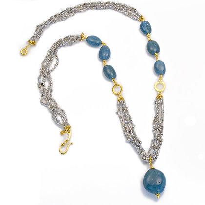 Keshi Twig Pearl & Aquamarine Bead Necklace