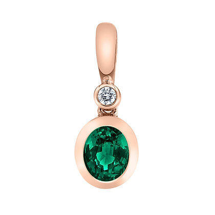 Oval Emerald & Diamond Pendant