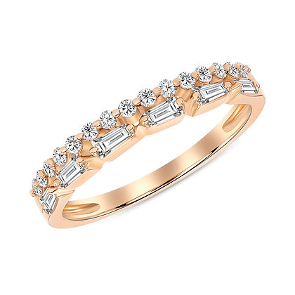 2-Row Tapered Baguette & Round Diamond Band