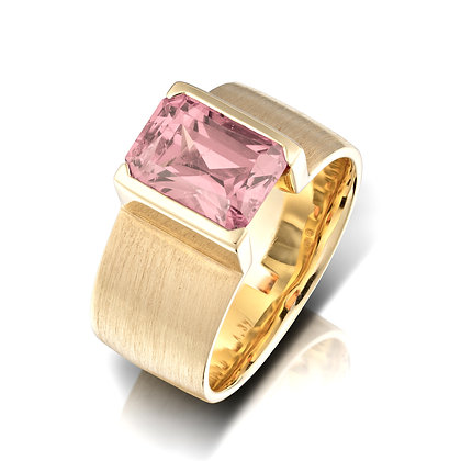 Mozambique Pink Tourmaline Wide Band