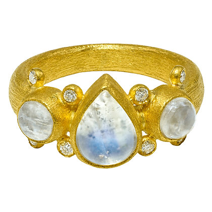 Round & Pear Shape Moonstone Ring