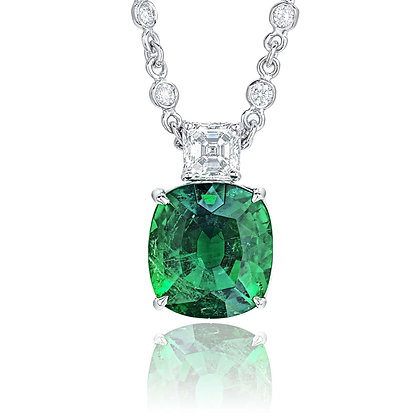Cushion Emerald & Diamond Necklace