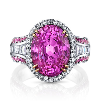 Vivid Pink Sapphire, French-cut Diamond Baguettes & Ombré Pink Sapphire Ring