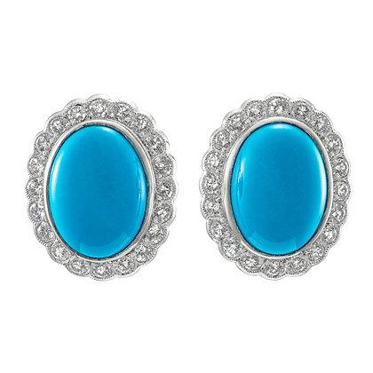Oval Turquoise Stud Earrings