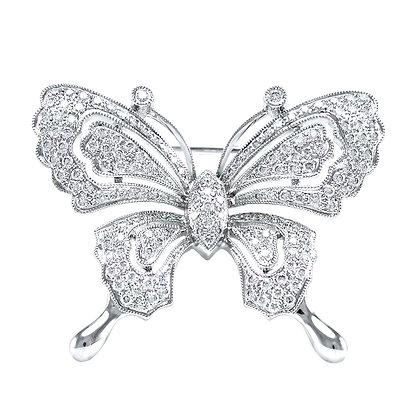 Diamond Milgrain Butterfly Brooch/Pendant