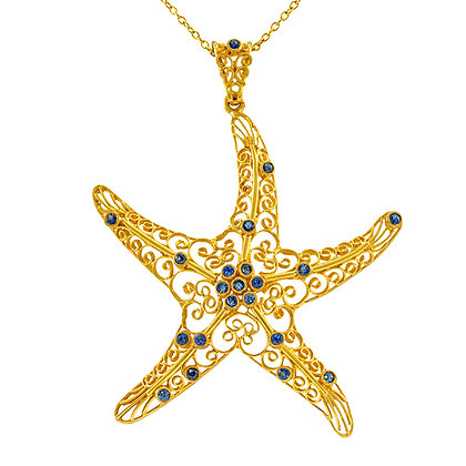 Sapphire Starfish Necklace