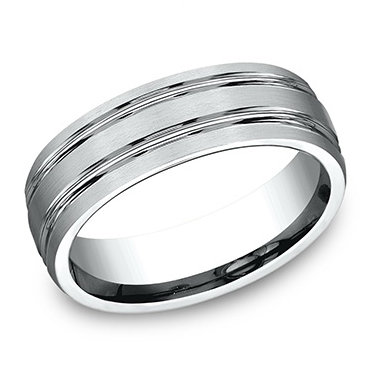 Double Lined Center Men's Wedding Band