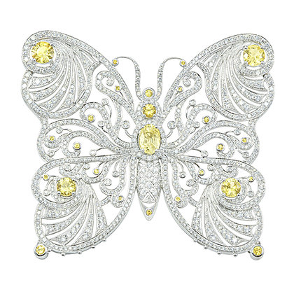 Yellow Sapphire & Diamond Butterfly Brooch/Pendant