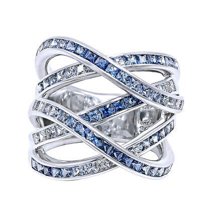 Gradient Blue Sapphire Criss-Cross Ring