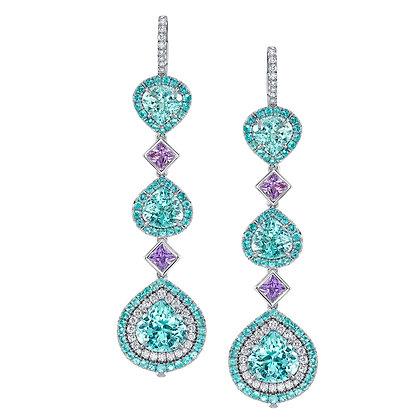 Paraíba Tourmaline, Purple Sapphire & Diamond Earrings