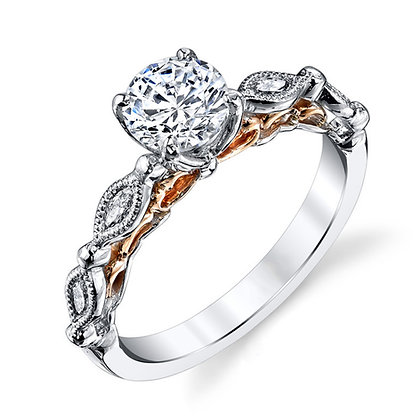 2-Tone Filigree Engagement Ring