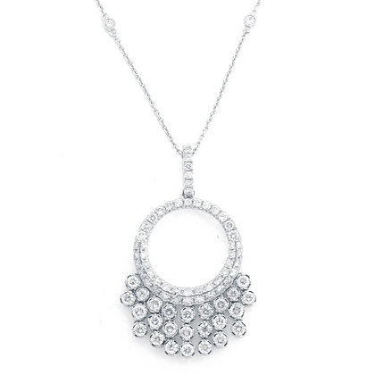 Diamond Open Circle Fringe Necklace
