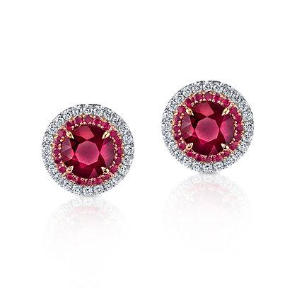 Ruby & Diamond Double Halo Studs