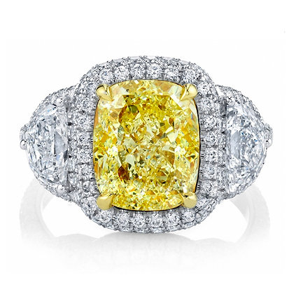 Cushion Fancy Yellow Diamond Ring