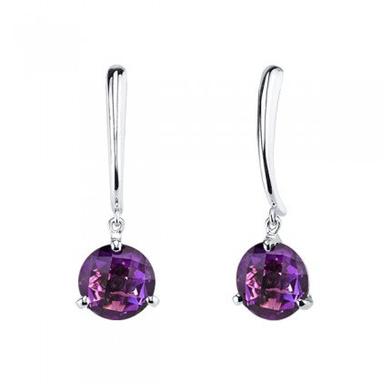 Amethyst Checkerboard Cut Drop Earrings