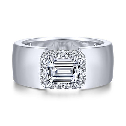 Emerald-cut East-West set Wide Band Engagement Ring