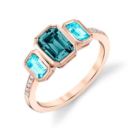 Blue Topaz 3-Stone Ring