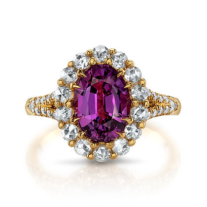 Pink Sapphire & Rose-cut Diamond Ring
