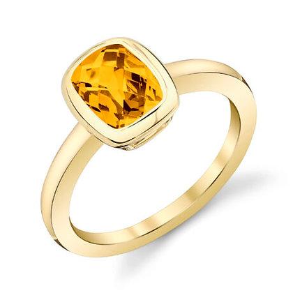 Bezel Set Spessartite Garnet Ring