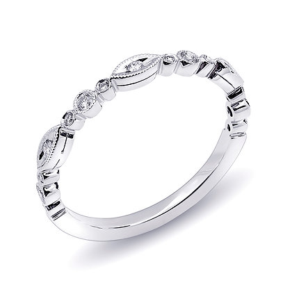 Diamond Milgrain Bezel Wedding Band