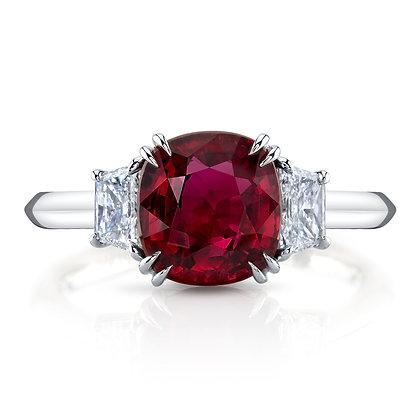 """Pigeon's Blood"" Ruby & Diamond 3-Stone Ring"