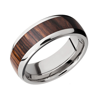 Cocobolo Wood Inlay Wedding Band