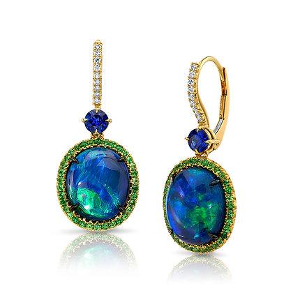 Opal, Sapphire & Tsavorite Garnet Drop Earrings