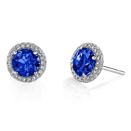 Sapphire & Diamond Halo Studs