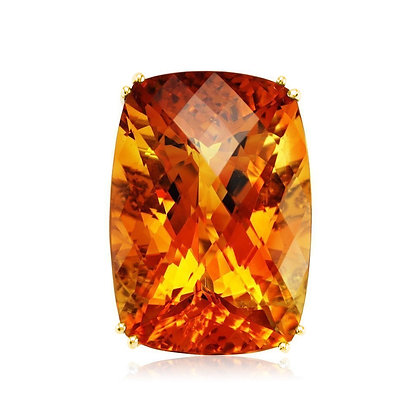 Citrine Cushion Split Shank Ring