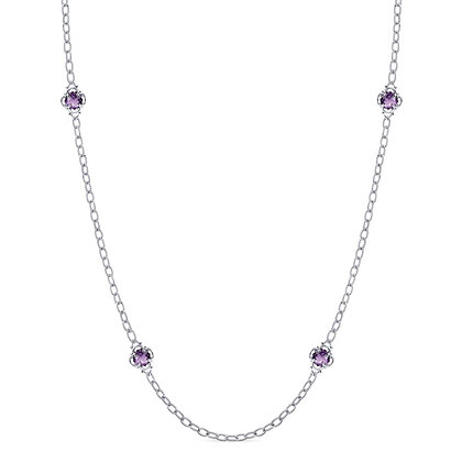 Amethyst Station Long Necklace