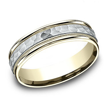 Hammered Finish 2-Tone Men's Wedding Band