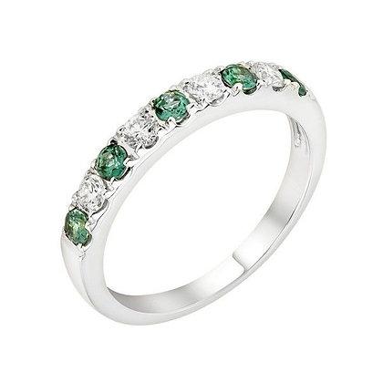 Alexandrite & Diamond Alternating Band