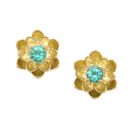Paraiba Tourmaline Lotus Flower Stud Earrings