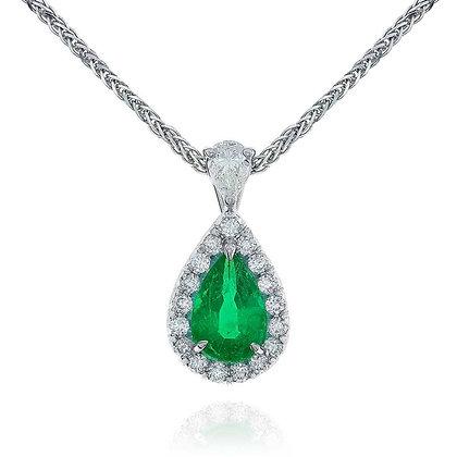 Pearshape Emerald & Diamond Necklace