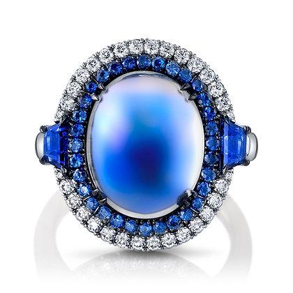 Moonstone, Blue Sapphire & Diamond Double Halo Ring