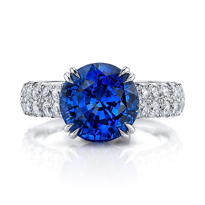 Round Sapphire & Diamond Ring