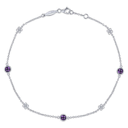 Amethyst & Sapphire Anklet with Clover Stations