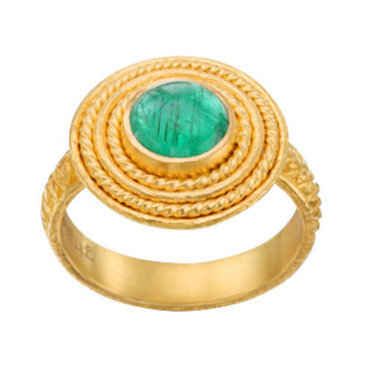 Emerald Cabochon Braided Halo Ring