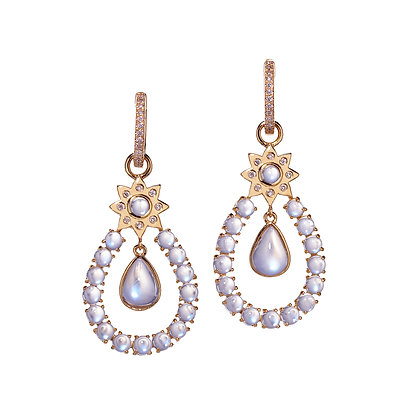 Moonstone Chandelier Drop Earrings