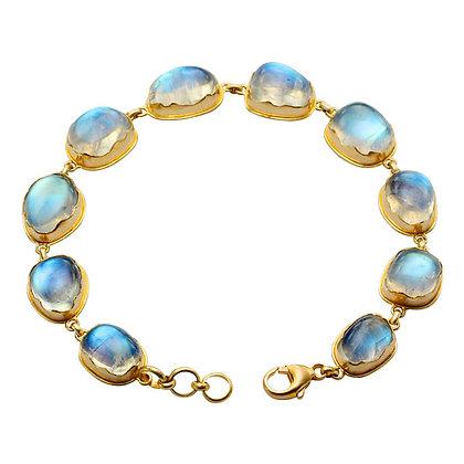 Blue Moonstone Bezel-set Bracelet