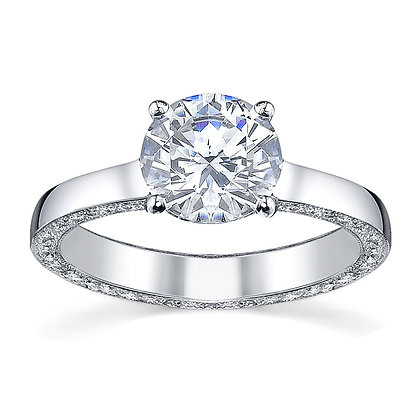 Round Micro Pavé Sidewall Engagement Ring