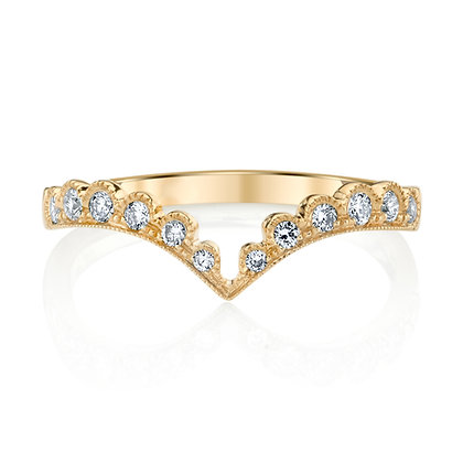 Milgrain Arched Diamond Wedding Band