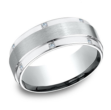 Diamond Edge-Set Men's Wedding Band