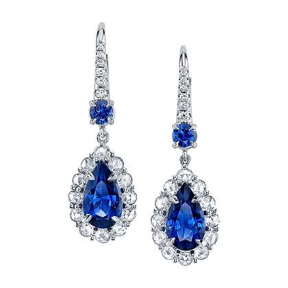 Pear-shape Sapphire & Rose-cut Diamond Drop Earrings