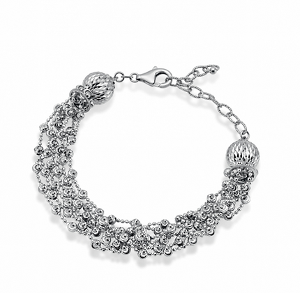 7-Strand Diamond Cut-Bead Bracelet