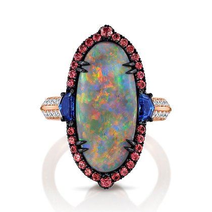 Black Opal, Spinel, Sapphire & Diamond Ring