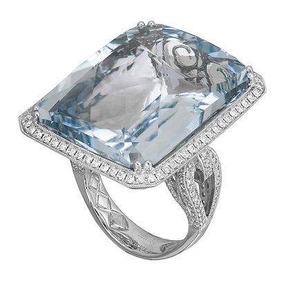 Aquamarine & Diamond Large Cocktail Ring