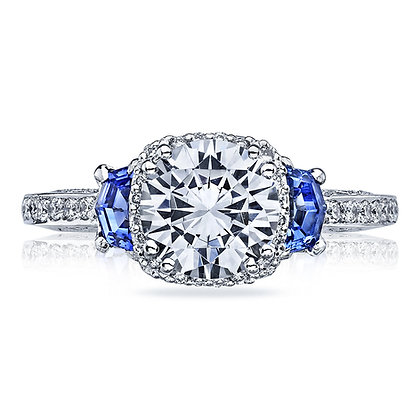 3-Stone Diamond & Sapphire Engagement Ring