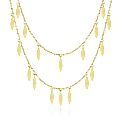 Matte Gold 2-Row Dangle Necklace